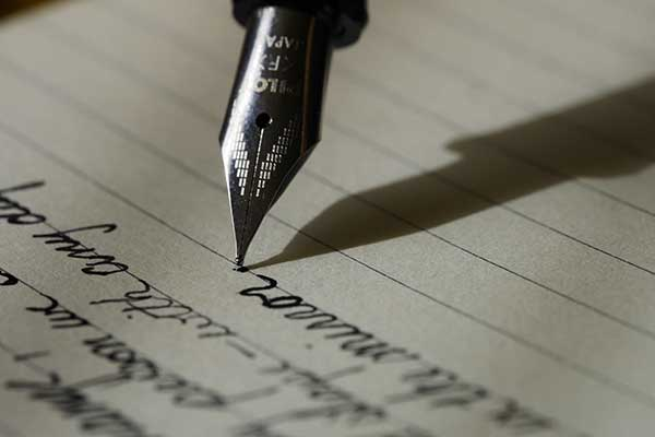 writing with ink pen