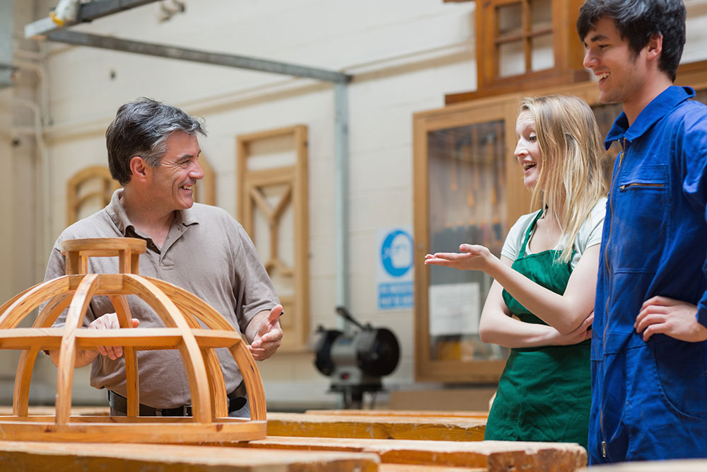woodwork tutor with students