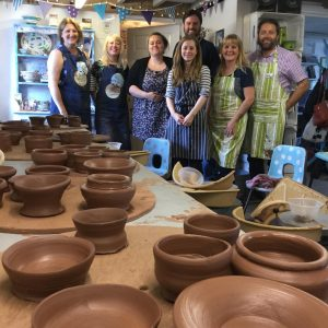 team photo of potter's wheel day course at eastnor pottery